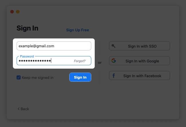 Sign in Zoom App on Mac