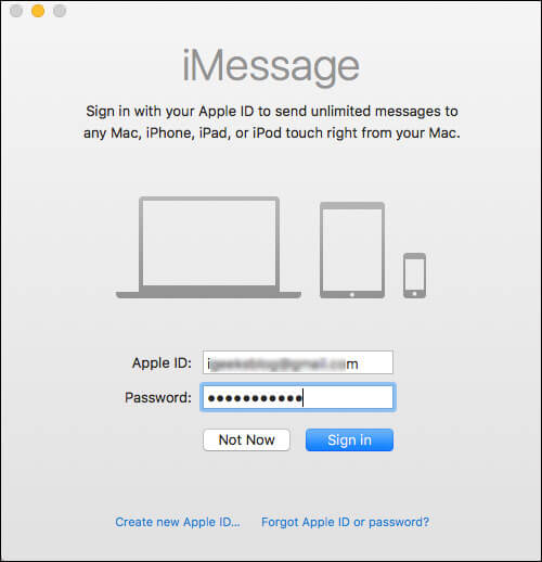 Sign in to Messages App on Mac