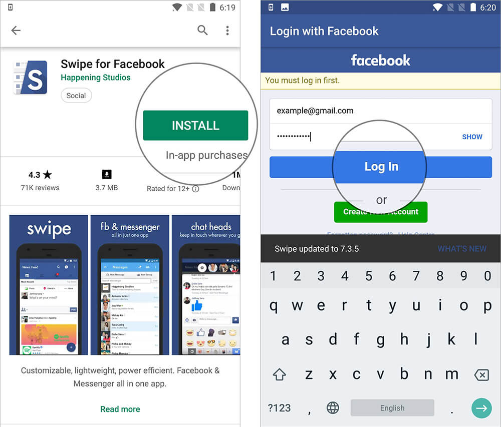 Sign in to your Account in Swipe for Facebook app on Android