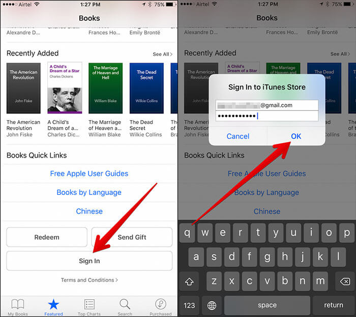 Sign into Apple ID for iBooks on iPhone