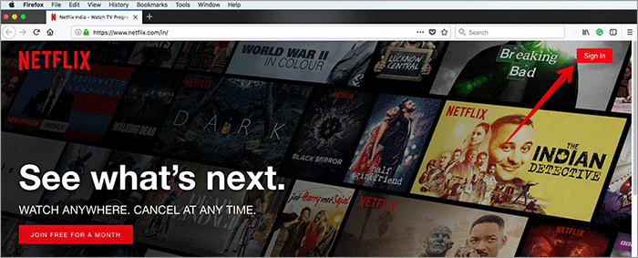 Sign into Netflix from Web