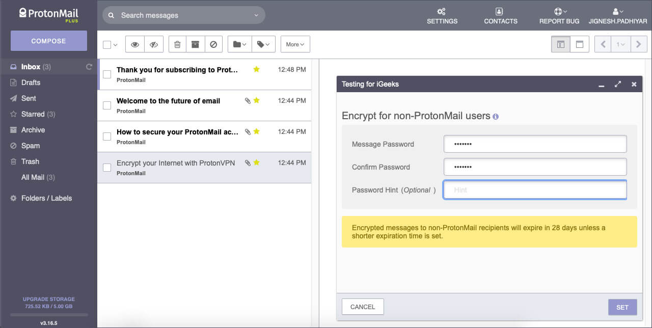 Sign into ProtonMail on Web