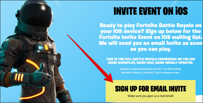 Sign up for Email Invite for Fortnite Battle Royale Game