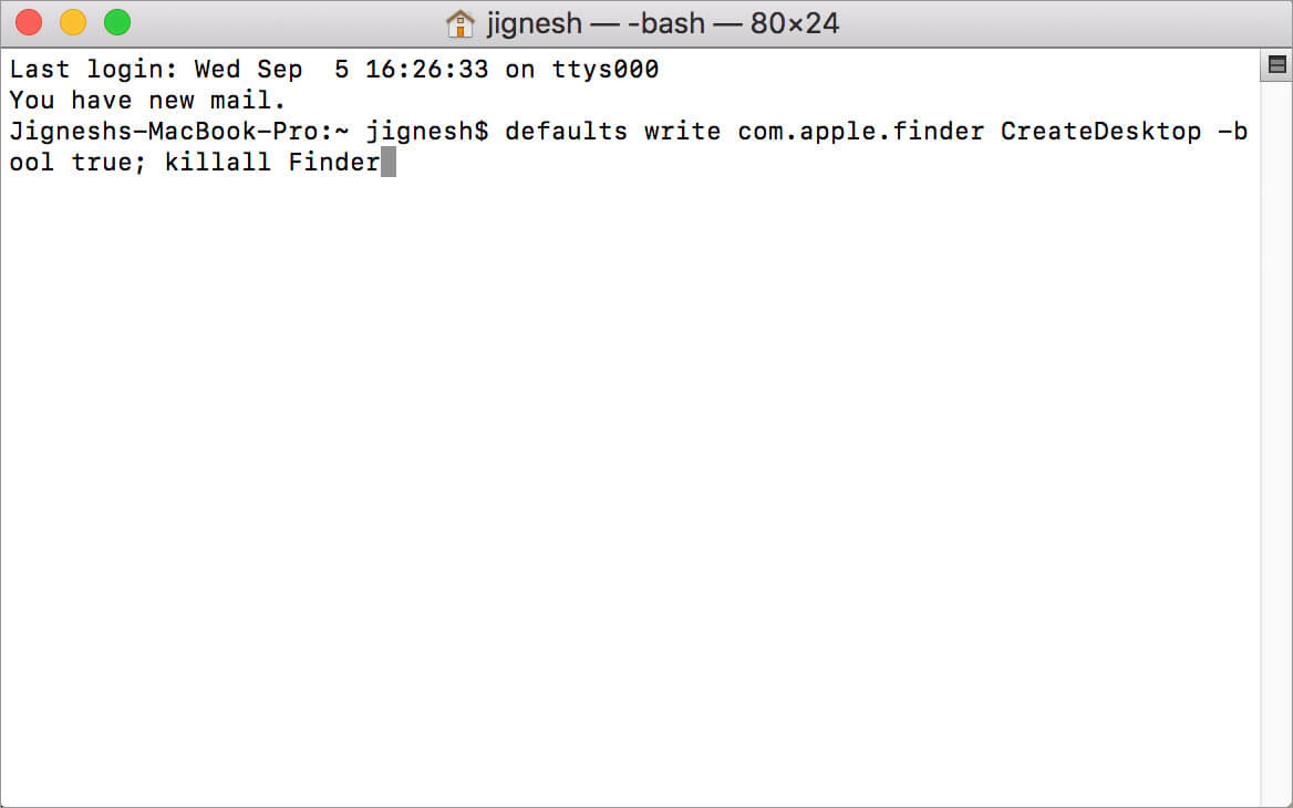Simple Enter the Unhide Command in Mac Terminal App
