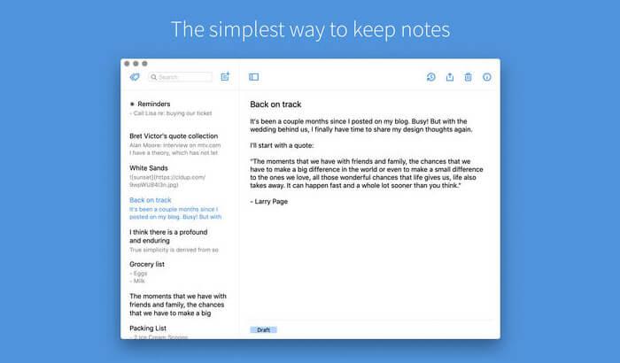 Simplenote Mac Заметка о создании снимка экрана приложения