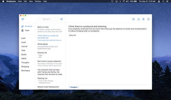 Simplenote Mac Task Management App Screenshot