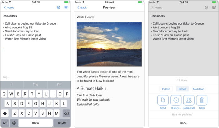 Simplenote iPhone and iPad App Screenshot
