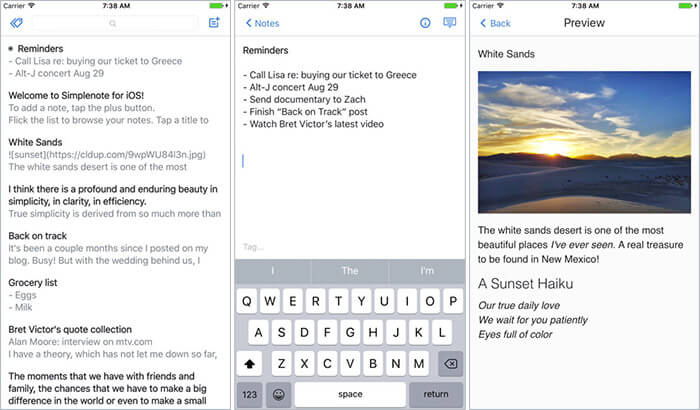 Simplenote iPhone and iPad Note Taking App Screenshot