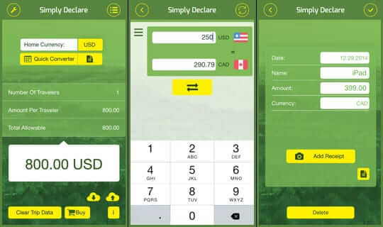 Simply Declare Travel App for iPhone and iPad