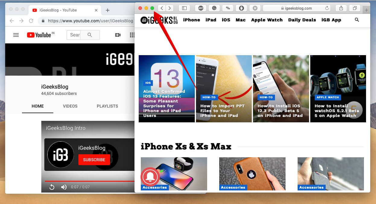 Simply hold full-screen button to Activate Mac Split screen mode