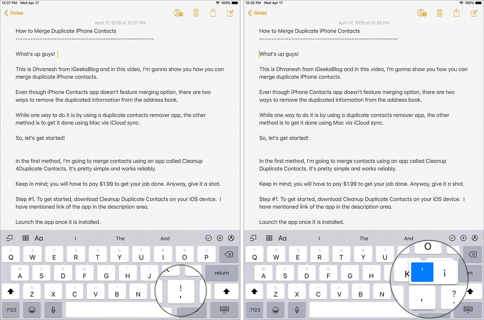 Single Quotes Using iPad Keyboard