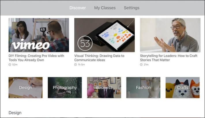 Skillshare Apple TV Learning App Screenshot