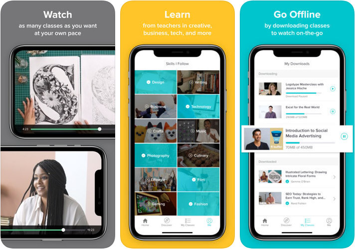 Skillshare Online Learning iPhone and iPad App Screenshot