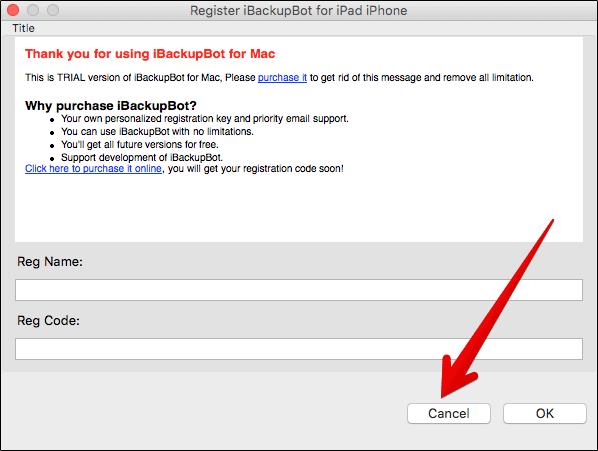 Skip Registration for iBackupBot on Mac