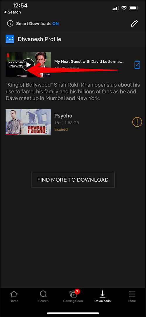 Slide Content from Right to Left in Netflix Download on iPhone
