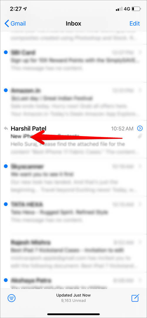 Slide Email to Left to Open Option in iOS 13 Mail App on iPhone