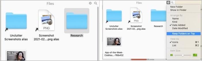 Smart file management system of Unclutter app or Mac