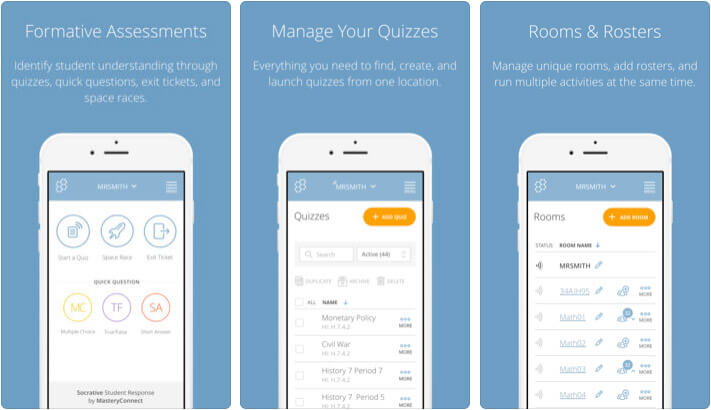 Socrative Teacher iPhone and iPad Assessments App Screenshot