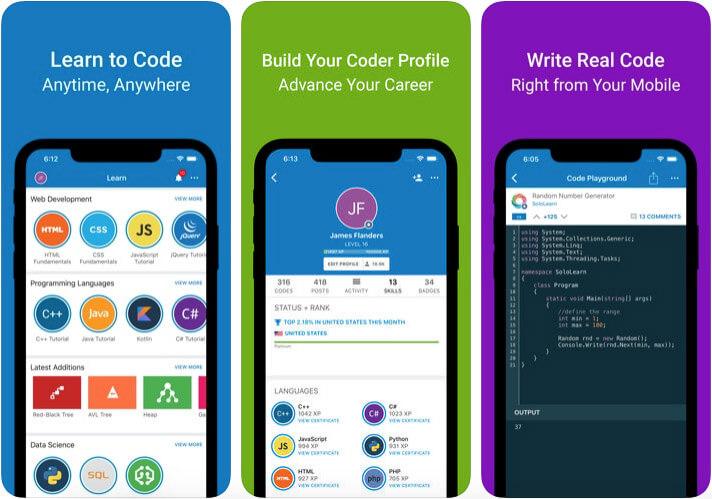 Sololearn iPhone and iPad Code Learning App Screenshot