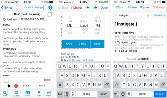 Songwriter Pad iPhone App Screenshot