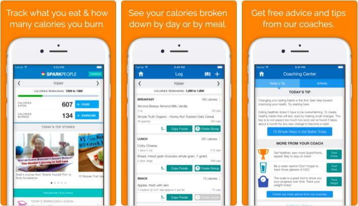 SparkPeople Calorie Tracker iPhone App Screenshot