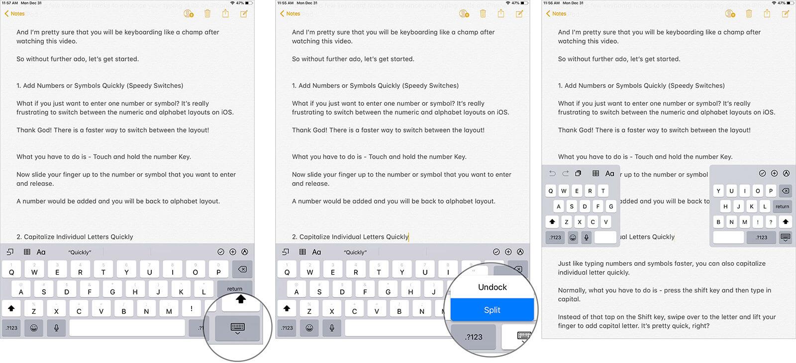 Split Keyboard on iPad