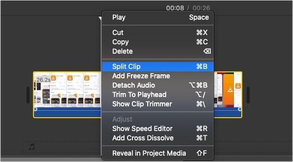 Split a clip in iMovie on Mac