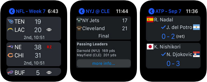Sports Alerts Apple Watch App Screenshot