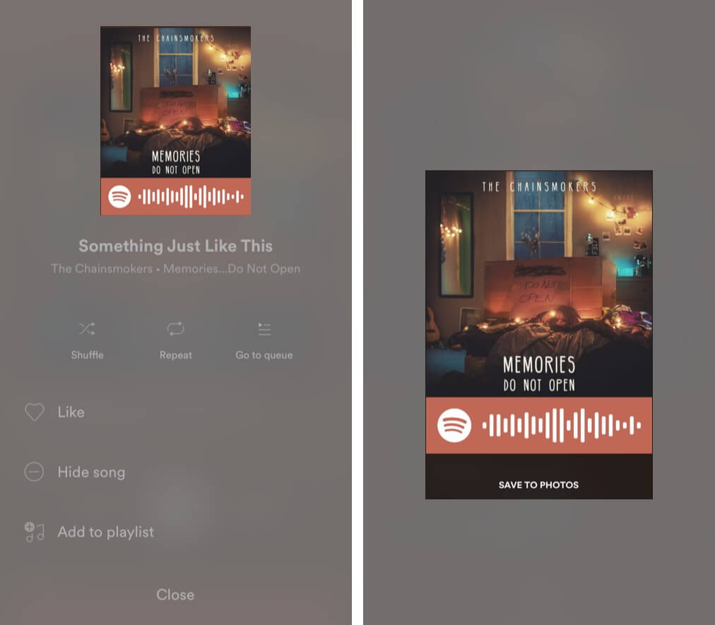 Spotify Codes to share music on iPhone