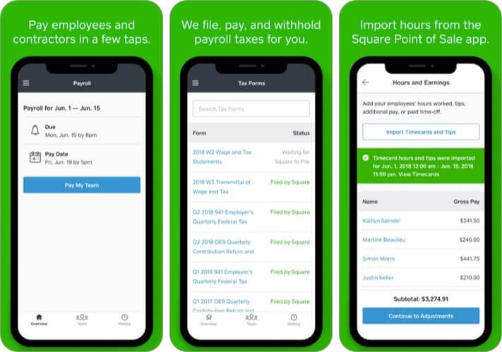 Square Payroll iPhone and iPad App Screenshot