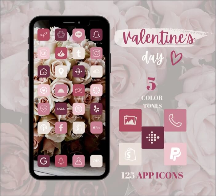 St. Valentines Day Free apps icon set for iPhone