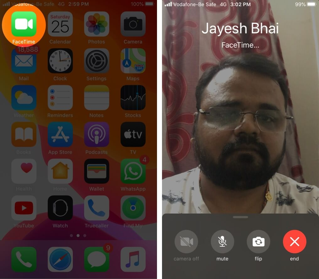 Start FaceTime Video Call on iPhone