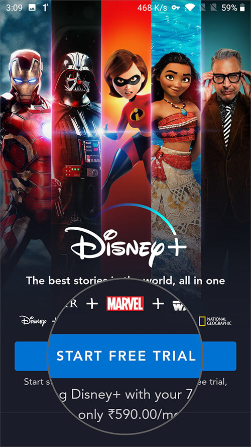 Start Free Trial to Watch Disney+ in India on Android