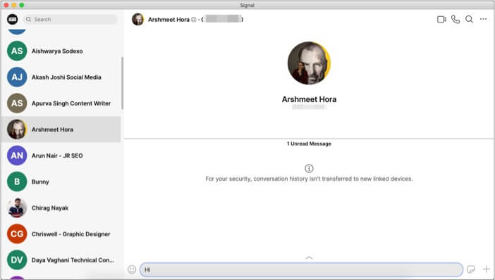 Start chat from the Signal app on your desktop