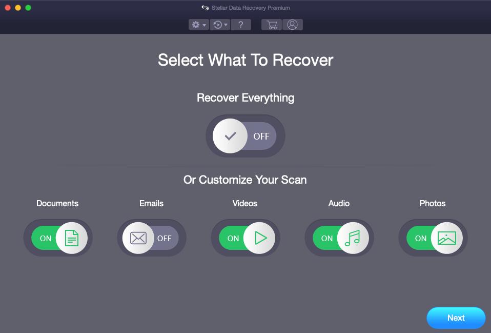 Stellar Data Recovery Premium File Selection