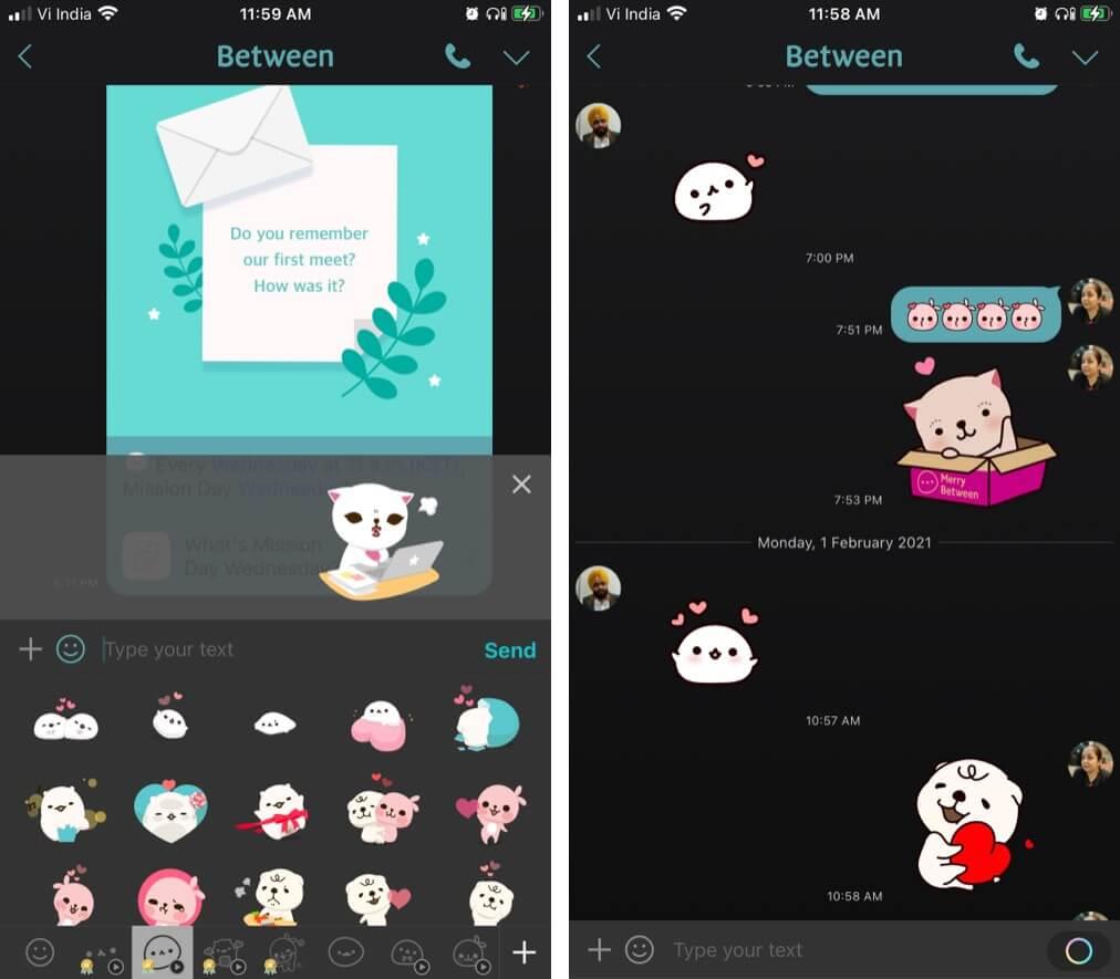 Stickers feature in Between iPhone app
