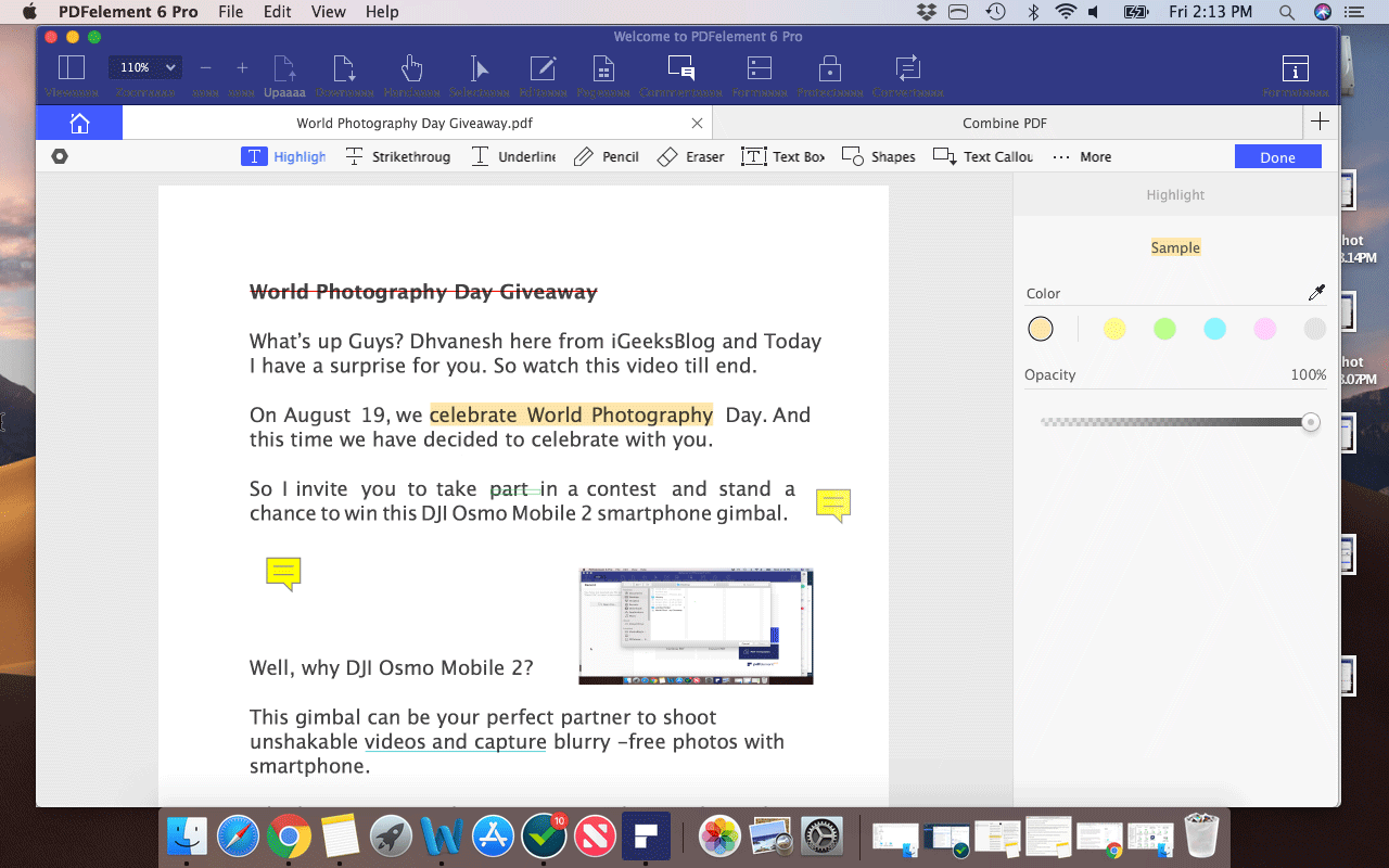 Sticky Comments in PDF