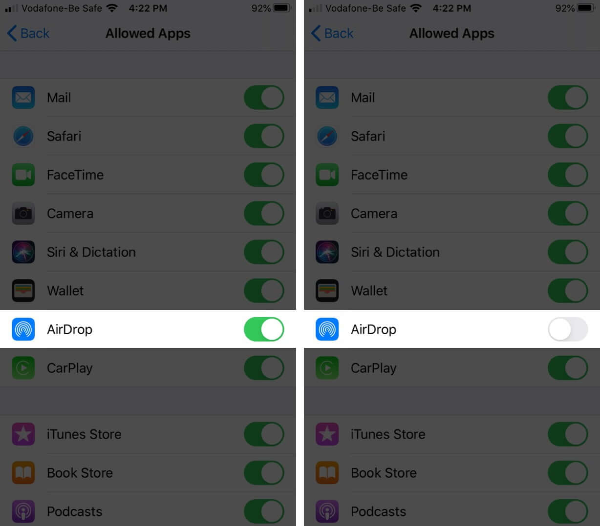 Stop AirDrop with Screen Time on iPhone