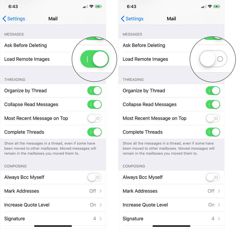 Stop Images Loading Automatically in Mail App on iPhone