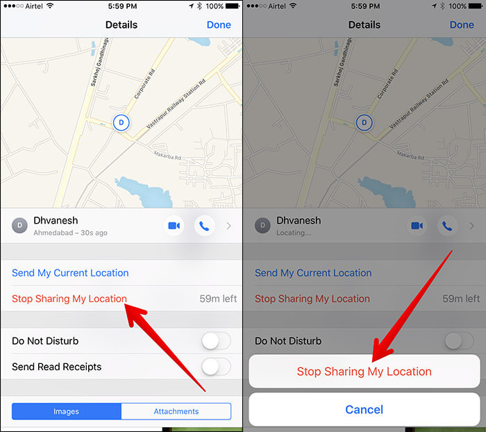 Stop Location Sharing in iMessage on iPhone