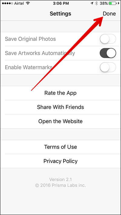 Stop Prisma from Saving Original Photos to iPhone Camera Roll