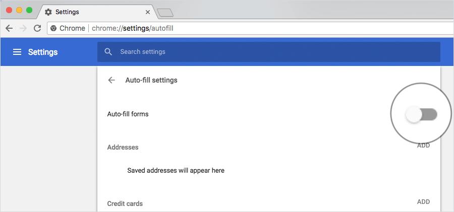Stop Saving Credit Card to Google Chrome on Mac or Windows PC