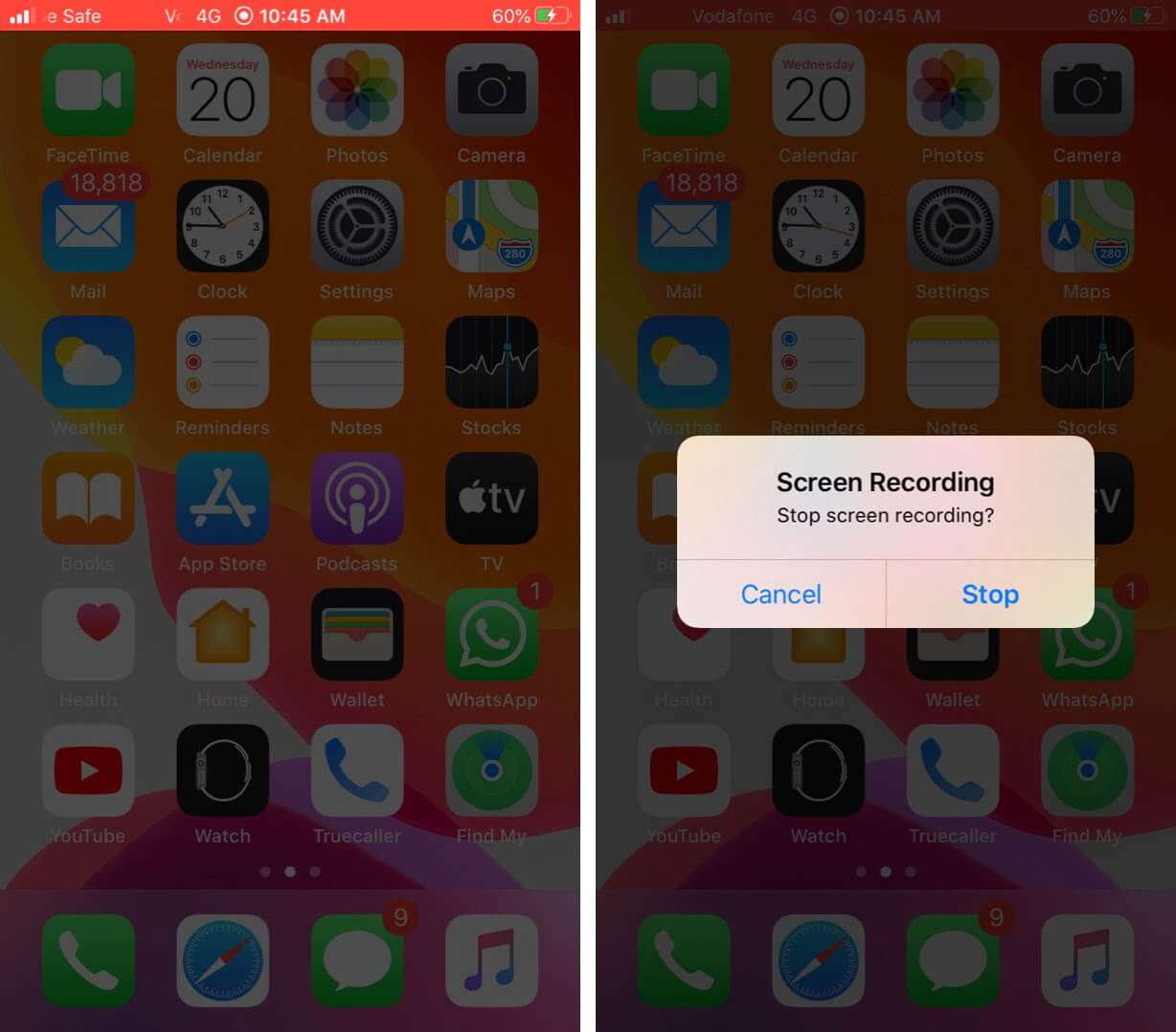 Stop Screen Recording on iPhone