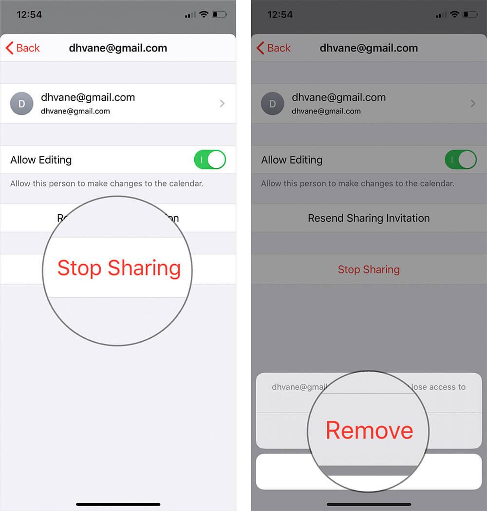 Stop Sharing Calendar on iPhone or iPad