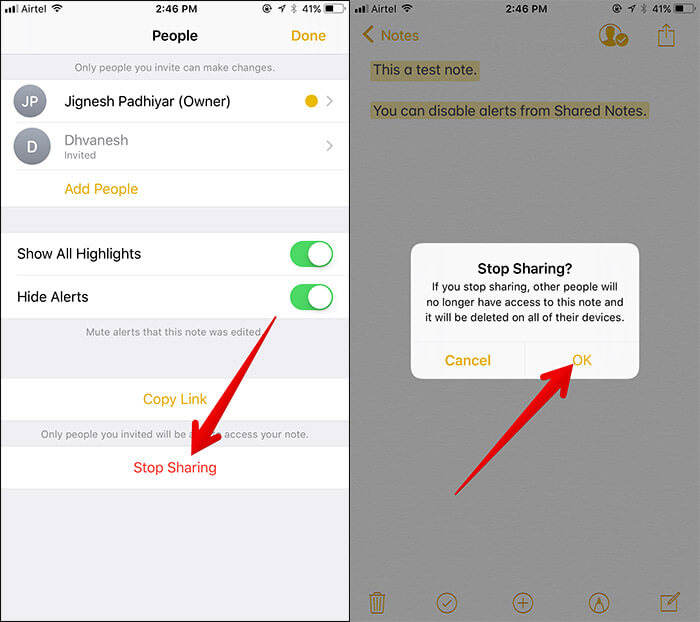 Stop Sharing Note in iOS 11 Notes App