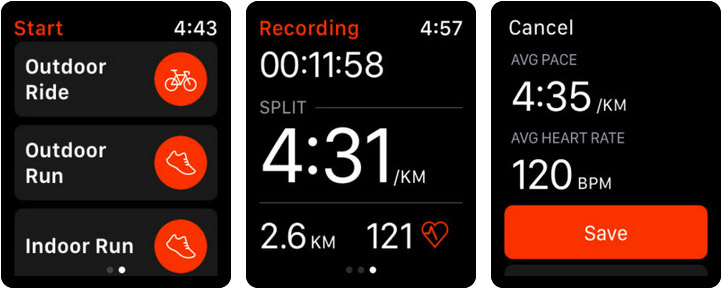 Strava Run, Ride, Swim Apple Watch App Screenshot