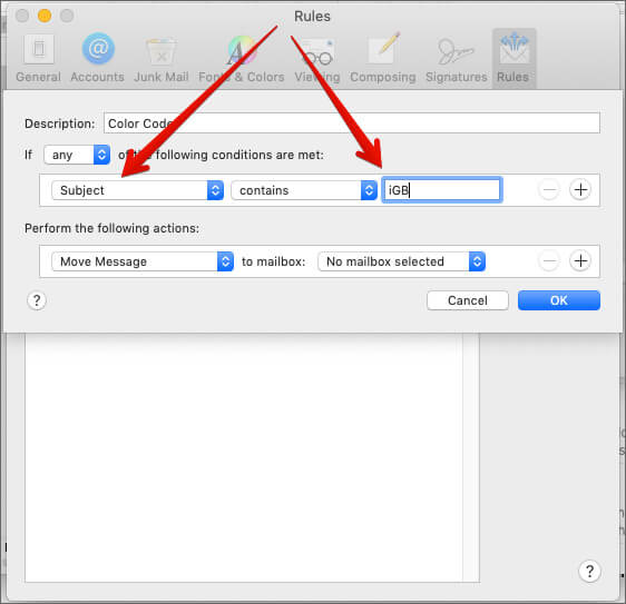 Subject Text Color Code Conditions in Mail on Mac