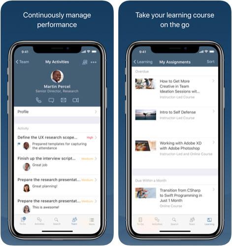 SuccessFactors HR Management iOS App Screenshot