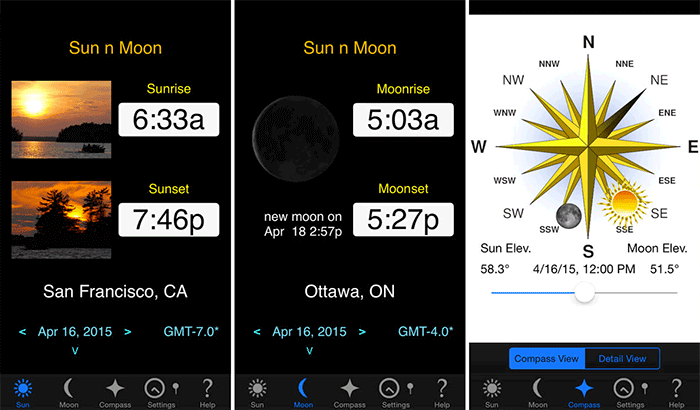 Sun and Moon Azan iPhone and iPad App Screenshot