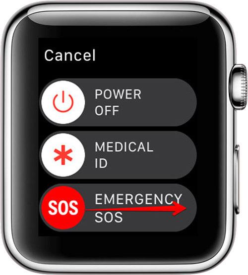 Swipe Emergency SOS Slider to Right on Apple Watch